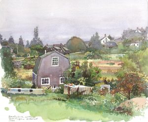 Monhegan Island Cottage - en plein air watercolor landscape painting by Frank Costantino