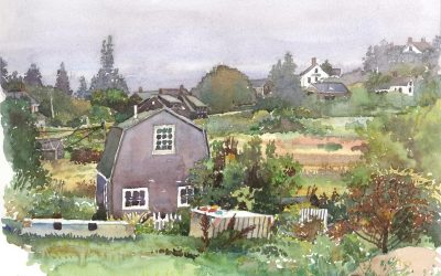 Monhegan Island Cottage – en plein air watercolor landscape painting by Frank Costantino