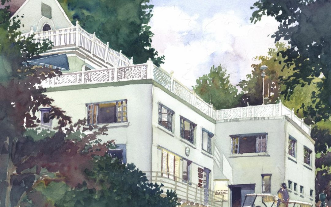 3rd & 19th, Tedesco CC – en plein air watercolor painting of building and architecture
