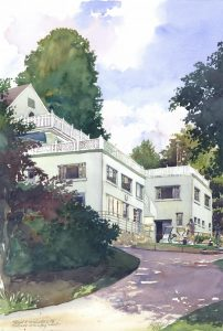3rd & 19th, Tedesco CC - en plein air watercolor painting of building and architecture by Frank Costantino