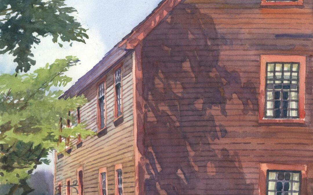 3rd Century's Shadowed Facade - en plein air watercolor landscape building painting by Frank Costantino