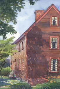 3rd Century's Shadowed Facade - en plein air watercolor landscape building painting by Frank Costantino