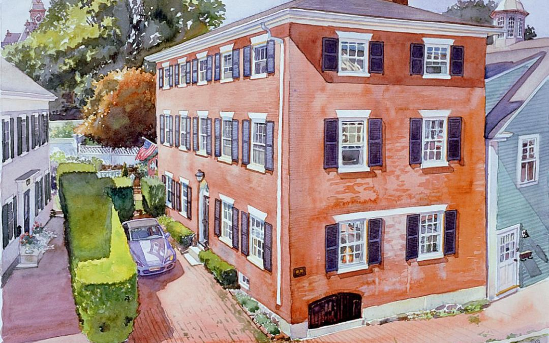 5 Hooper St Brick - en plein air watercolor painting of building and architecture by Frank Costantino