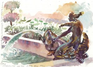 5th Ave Mermaid - watercolor painting of sculpture by Frank Costantino
