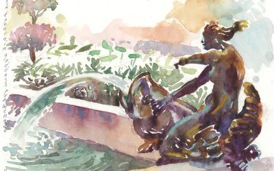5th Ave Mermaid – watercolor painting of sculpture