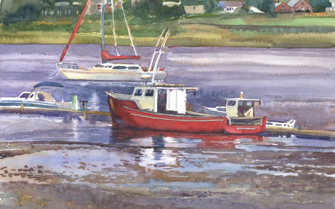 Low Float at Donovan's Beach – en plein air watercolor seascape painting with boat by Frank Costantino.