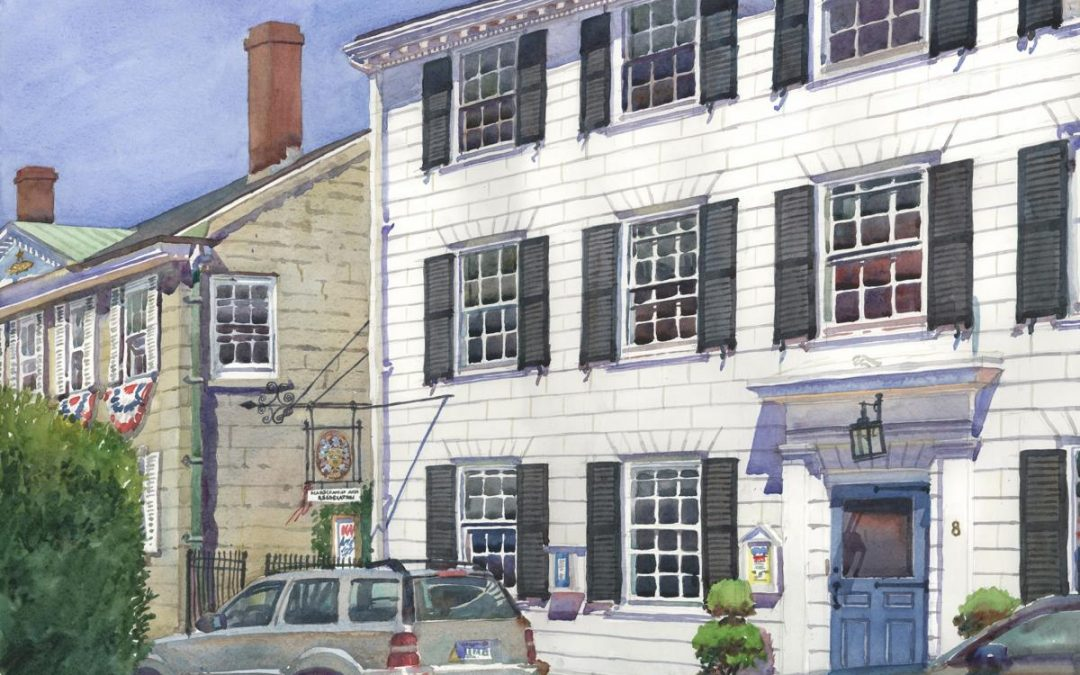 8 Hooper King Hooper Mansion – en plein air watercolor painting of building and architecture