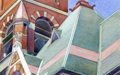 Abbot Hall, 2PM – en plein air watercolor painting of building and architecture