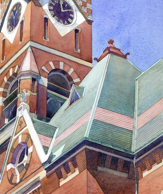Abbot Hall, 2PM - en plein air watercolor painting of building and architecture by Frank Costantino