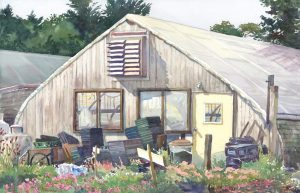 Ack's Hurricanes Earl & Irene - en plein air watercolor landscape painting by Frank Costantino
