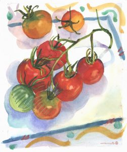 A simple study in reds and oranges, with greens, of an end of season patio tomato vine, showing the varied color stages of ripeness. The playful borders tied the composition together.