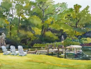 An Engagement of Land & Sea - en plein air watercolor seascape painting