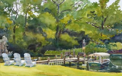 An Engagement of Land & Sea – en plein air watercolor landscape painting