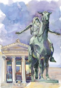 Appeal of the Arts- MFA - watercolor painting of sculpture by Frank Costantino