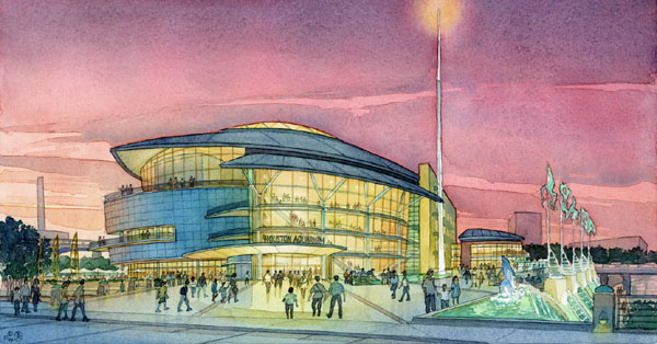 Aquarium Proposal, Houston – watercolor architectural illustration rendering by Frank Costantino