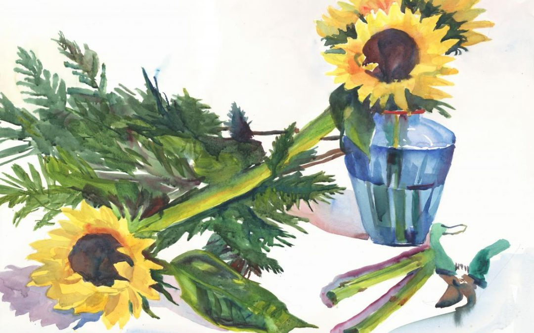 Arrangement in Green, Yellow & Blue – watercolor floral painting
