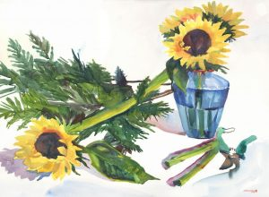 Arrangement in Green, Yellow & Blue - watercolor floral painting by Frank Costantino