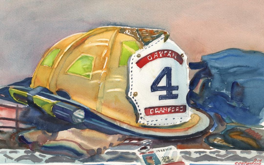 At The Ready – watercolor painting of firefighters helmet