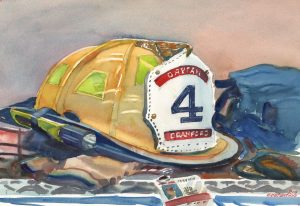At The Ready - watercolor painting of firefighters helmet by Frank Costantino