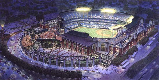 Atlanta Braves, Turner Field, Atlanta, Georgia – colored pencil architectural illustration rendering