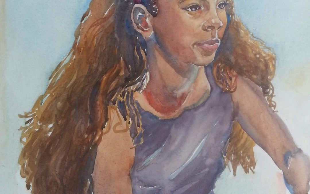 Ava – watercolor figure portrait painting