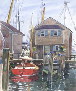 Awaiting a Row- Ketcham's Canoe - en plein air watercolor seascape maritime painting by Frank Costantino