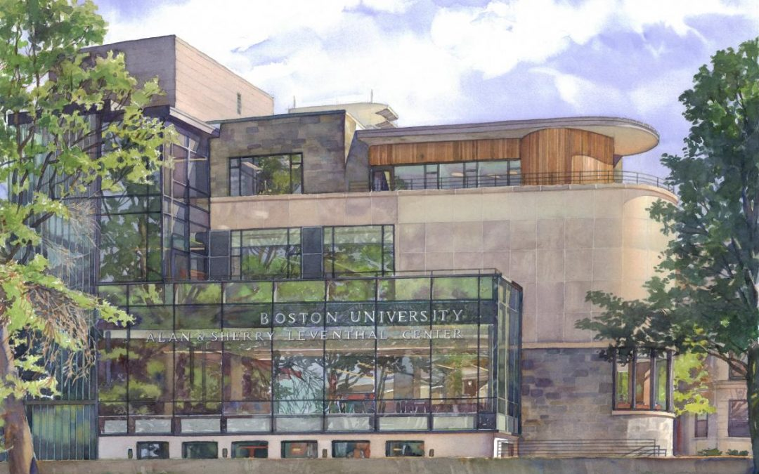 Boston University, Leventhal Center – watercolor architectural illustration and painting of building