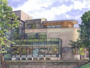 Boston University, Leventhal Center - watercolor architectural illustration and painting of building - by Frank Costantino