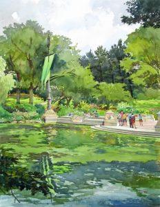 Bethesda Terrace- Central Park - en plein air watercolor landscape painting