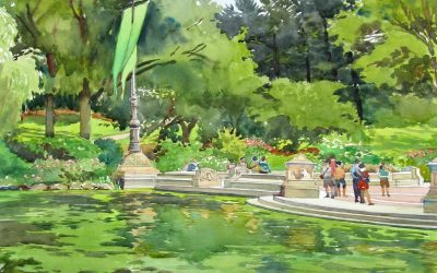Bethesda Terrace- Central Park – en plein air watercolor landscape painting
