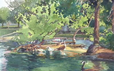 Bird's Little Acre – en plein air watercolor painting of geese on the water by Frank Costantino