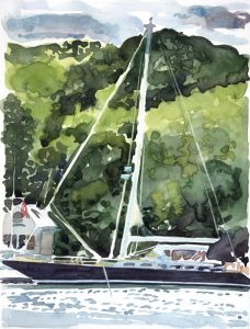 Black Sloop- Boothbay - en plein air watercolor landscape maritime painting by Frank Costantino