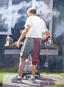 Blessed Brother Bills BBQ - watercolor figure painting by Frank Costantino