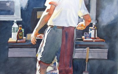 Blessed Brother Bill's BBQ – watercolor figure painting