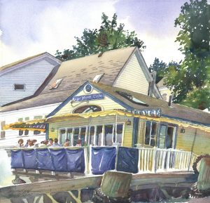 Blue Moon Cafe - en plein air watercolor landscape building painting by Frank Costantino