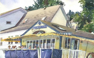 Blue Moon Cafe – en plein air watercolor landscape building painting