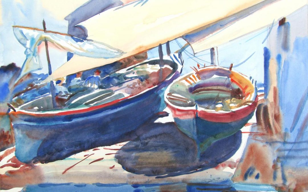 Boat Duet Drawn Up- After Sargent – watercolor maritime painting of boats