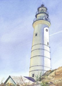 Boston Light Americas First 1716 - watercolor maritime lighthouse painting by Frank Costantino
