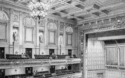 Boston Symphony Hall – black & white architectural illustration drawing