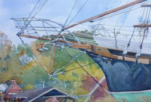 Bowsprit Singing - en plein air watercolor painting boat maritime ship by FrankCostantino