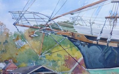 Bowsprit Singing – en plein air watercolor painting of boat