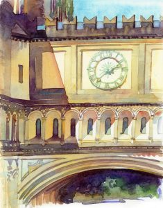 Bridge Clock, Sunny Afternoon - en plein air watercolor landscape painting by Frank Costantino