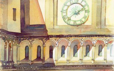 Bridge Clock, Sunny Afternoon – en plein air watercolor landscape painting