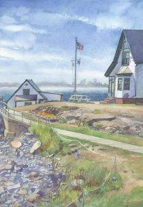 Cities Gatekeeper Boston Light - en plein air watercolor painting lighthouse seascape by Frank Costantino