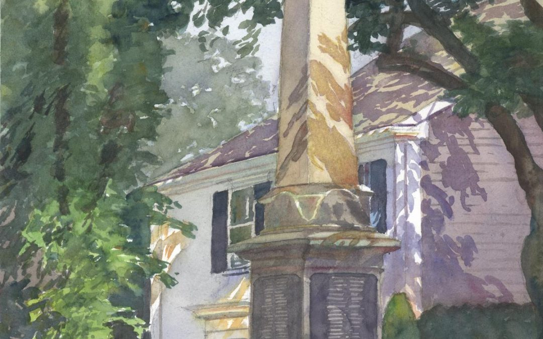 Civil War Monument – en plein air watercolor landscape painting by Frank Costantino
