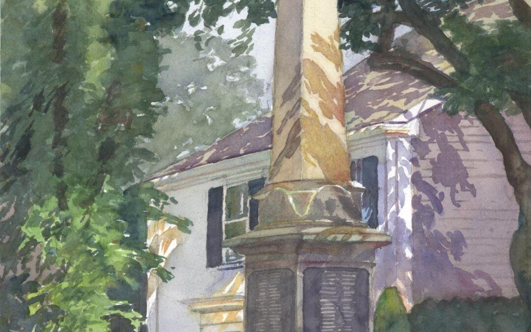 Civil War Monument - en plein air watercolor landscape painting by Frank Costantino