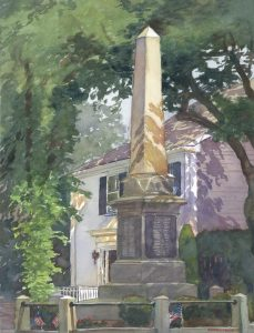 Civil War Monument - en plein air watercolor landscape painting by Frank Costantino