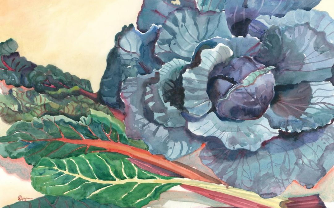 Color Concerto in Cabbage & Swiss Chard – watercolor still life painting
