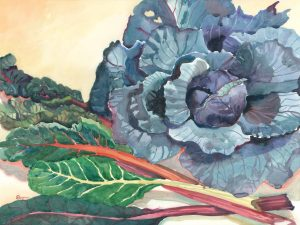 Color Concerto in Cabbage & Swiss Chard - watercolor still life painting by Frank Costantino