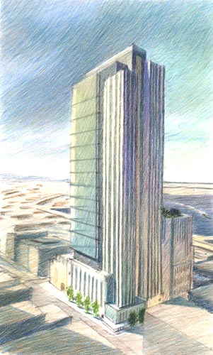 Washington Mutual Tower, Seattle, WA – colored pencil architectural illustration rendering